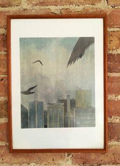 "Aquarell - Bild ""Stadt Vögel"" – original Aquarell signiert - ein Designerstück von chromartist bei DaWanda"