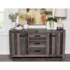 Kosas Home Hand-crafted Oscar Distressed Charcoal Recovered Shipping Pallets 3-drawer, 2-door Buffet