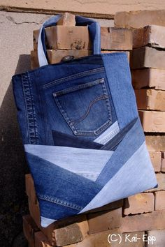bag from old jeans, quilted denim