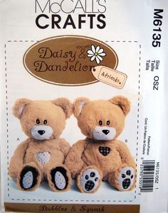 Bubbles And Squeak Plush Bears McCall's Crafts by NeedANeedle, $9.75