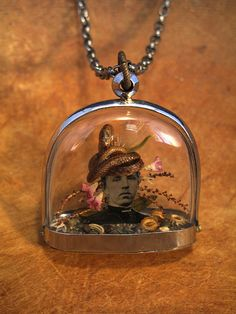 baby snake on tintype diorama necklace by Lisa Wood