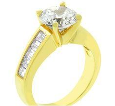 Isodra Round Solitaire Engagement Ring | 3ct | Cubic Zirconia | 18k Gold