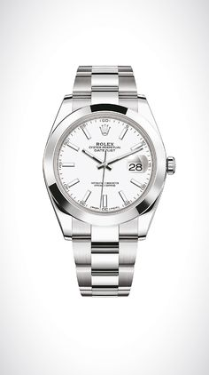 Rolex Datejust 36 in 904L steel with a domed bezel, white dial and Oyster bracelet.