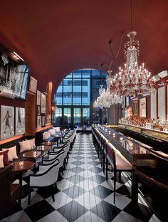 Baccarat Hotel & Residences New York_The Bar Bar Interior Design, Bar Design, Design Studio, Usa Wallpaper, Wallpaper Magazine, Plywood Furniture, Restaurant Design, Restaurant Bar, Elite Hotels