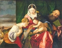 Bonifacio Veronese and workshop - The Holy Family with the Young St. John the Baptist and St. Catherine of Alexandria. x cm, Oil on canvas, Dundee City Council Leisure & Arts, McManus Galleries Marc Chagall, Medieval Art, Renaissance Art, Saint Catherine Of Alexandria, Sainte Catherine, Bride Of Christ, Mystique, Italian Painters, Loreto