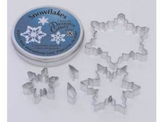 SNOWFLAKE Cookie Cutter set of 5 decorating cutters, 3 snowflakes and 2 tin insert cutters Snowflake Cookie Cutter, Snowflake Cookies, Metal Cookie Cutters, Christmas Cookie Cutters, Cookie Cutter Set, Christmas Cookies, Frozen Christmas, Frozen Theme, Frozen Party