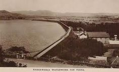 An old photo of the Khadakwasla Dam.  (Does anyone know the date the photograph was taken? Pre or post 1961?)
