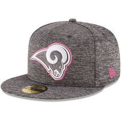 59456f4b38f Men s Los Angeles Rams New Era Heather Gray 2016 Breast Cancer Awareness  Sideline 59FIFTY Fitted Hat
