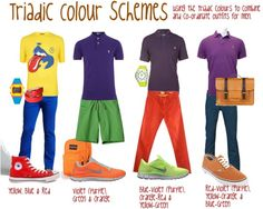 """""""Triadic Colour Combinations for the blokes"""" by transform-image-consulting on Polyvore"""