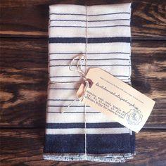 Handloomed Striped Cotton Napkins - White & Navy Blue Stripes (Set of 4)