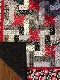 Black, Red and White Decorative Quilt. $70.00, via Etsy.