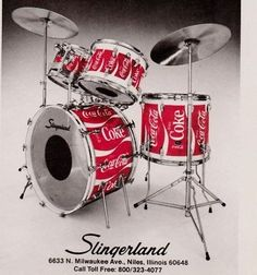 MOST POPULAR RE-PINS - Coke beats: Slingerland drumkit, traditional red Coca Cola LOGO design. RESEARCH #DdO:) http://www.pinterest.com/DianaDeeOsborne/drums-drumming-joy/ - DRUMS AND DRUMMING JOY. Actual vintage ad PHOTO of an old KIT to sell art that turns your drums into this look. Ebay Ad Dec 2014: 1977 #SLINGERLAND Drums Custom Finishes Coca-Cola Coke Design Kit! Ad in Collectibles, Advertising, Musical Instruments... $8. Cool pin via poolserviceplus #DRUMMERS DELIGHT #Pinterest Board.