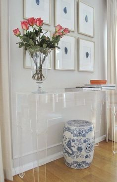 vt interiors lucite console with benjamin moore paperwhite-9 benjamin moore cool paint colors   love this fresh vignette!