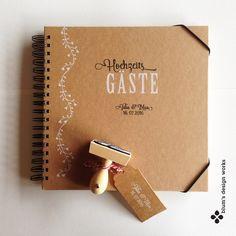 Hochzeitsalben - Gästebuch, MIT NAMEN UND DATUM, 25x25 cm - ein Designerstück von blumsdesign bei DaWanda