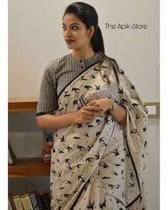 Check out this collection of best formal office wear sarees collection online from the brand The Apik store. New Saree Blouse Designs, Cotton Saree Designs, Fancy Blouse Designs, Blouse Patterns, Blouse Styles, Formal Saree, Casual Saree, Stylish Blouse Design, Saree Models