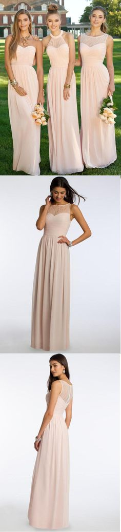 Mismatched Different Styles Chiffon Blush Pink Modern Formal Floor-Length Cheap Bridesmaid Dresses, The long bridesmaid dresses are fully lined, 4 bones in the bodice, chest pad in the bust, lac Blush Pink Bridesmaids, Mismatched Bridesmaid Dresses, Wedding Bridesmaid Dresses, Wedding Party Dresses, Prom Dresses, Bridesmaid Tips, Chiffon Dresses, Dress Vestidos, Dream Dress