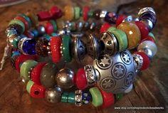 Boho Wrap Bracelet/Silver Star Focal Bead by EclecticBeadWorks