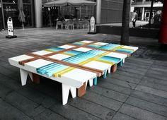 """PlaidBench"" from Raw-Edges Design Studio. Street Furniture, Retro Furniture, Colorful Furniture, Cool Furniture, Furniture Design, Urban Furniture, House Furniture, Furniture Ideas, Edge Design"