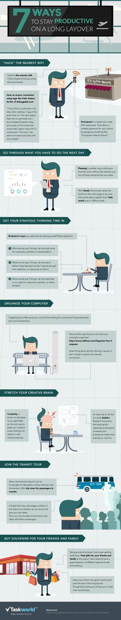 7 Ways To Stay Productive On A Long Layover   #infographic #Productivity #Travel
