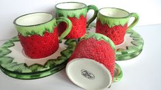 Strawberry Demitasse Cups Gift Ideas Creation by SucresDaintyDish, $21.00