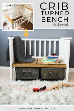 Repurposed Crib Turned Kids Bench • Grillo Designs