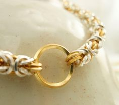 Half Price Summer SALE Petite Silver and Gold On Edge Squared Necklace - Byzantine Chainmaille