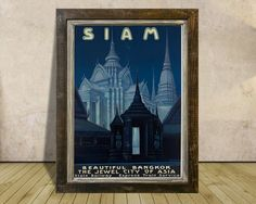 THAILAND * SIAM Bangkok Poster Art Print * Vintage Travel Advertising * A3 or A4 Size