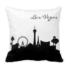 #Black and #White #Las #Vegas #Skyline #pillow #zazzlebesties  #zazzle #shopping #gifts