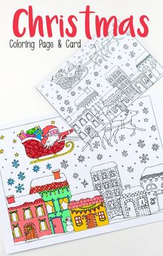 Christmas Colouring Pages with Santa