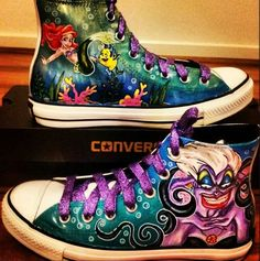 Hand painted Little Mermaid Converse high tops. Perfection.
