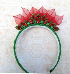 Red and Green Tiara Kanzashi Headband by AngelPetals on Etsy