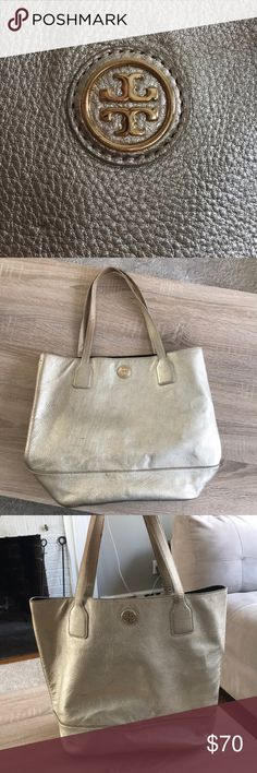Tory Burch Large tote bag Metallic gold - large shoulder tote - well worn - damage noted in pictures (handles and bottom not in perfect condition) - OPEN TO OFFERS Tory Burch Bags Totes