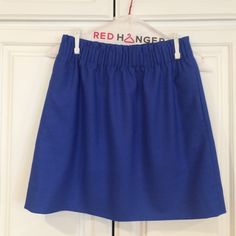 J. Crew mini skirt This blue mini skirt with pockets from J. Crew is perfect for the coming warmer months! Can be dressed up or down! Wool/ polyester/ viscose/ spandex. 17.5 inches from top to bottom! J. Crew Skirts Mini
