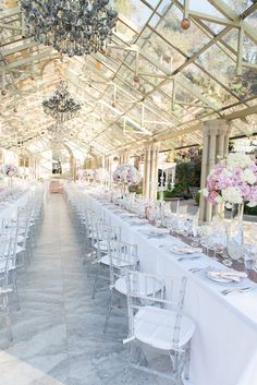 Romantic and lush white and blush pink flower centerpieces using Hydrangeas, Roses, Lisianthus Made by the floral team from Red In Paris Events With hints of rose gold wedding decor and glass and crystal With crystal Tiffany chairs Crystal Wedding Decor, Marquee Wedding, Tent Wedding, Wedding Chairs, Wedding Reception Decorations, Dream Wedding, Wedding Ideas, Pink Flower Centerpieces, Indoor Wedding Ceremonies