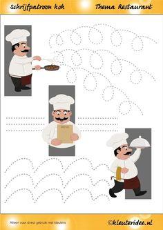 Schrijfpatroon kok voor kleuters, thema restaurant, juf Petra van kleuteridee, Writing pattern,  free printable