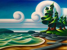 Canadian landscape painter living in Vancouver… Landscape Drawings, Landscape Art, Landscapes, Naive Art, Canadian Artists, Painting & Drawing, Amazing Art, Fantasy Art, Design Art