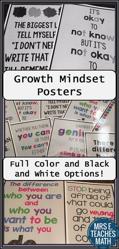 Growth Mindset Posters are the perfect way to motivate and encourage high school students!