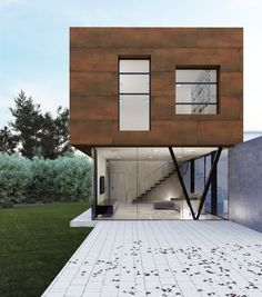 Fachada realizada con Techlam Steel Collection (Steel Corten) // Façade covered with Techlam Steel Collection (Steel Corten)