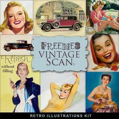 Far Far Hill - Free database of digital illustrations and papers: Freebies Retro Illustrations Kit