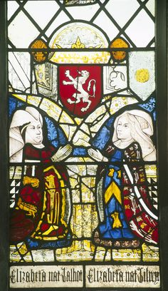 Detail of a stained glass window at Holy Trinity Church, Long Melford, Suffolk depicting Elizabeth Tilney, my Great Grandmother Medieval, Medieval Stained Glass, Painting, Middle Ages, Art, Art And Architecture, La Farge, Alice In Wonderland