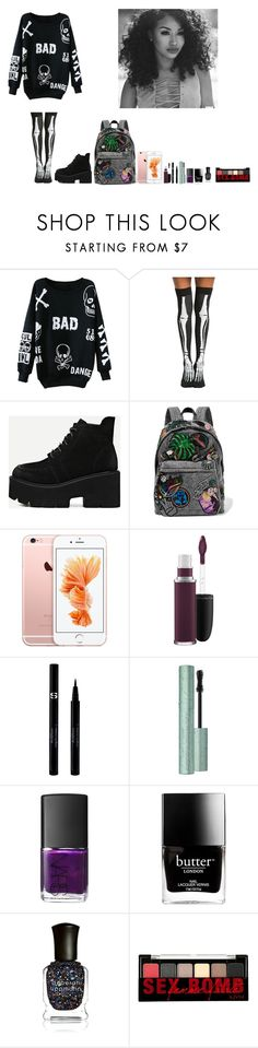"""-Glo Queen"" by thegloup-reina on Polyvore featuring Hot Topic, Marc Jacobs, MAC Cosmetics, Sisley, Too Faced Cosmetics, NARS Cosmetics, Butter London, Deborah Lippmann and NYX"