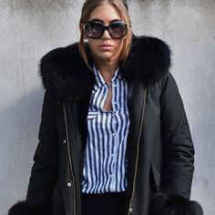 Fashion Statements by Q || The only reason why I love winter ||   #ootd #outfit #blog #blogger #fashionblog #fashionblogger #black #coat #fur #gucci #sunglasses #prada #highheels #zara #stripes