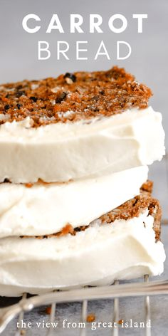 Carrot Cake Bread, Moist Carrot Cakes, Carrot Bread Recipe Moist, Carrot Cake Recipe With Coconut, Carrot Cake Cookies, Bread Cake, No Bake Desserts, Just Desserts, Delicious Desserts