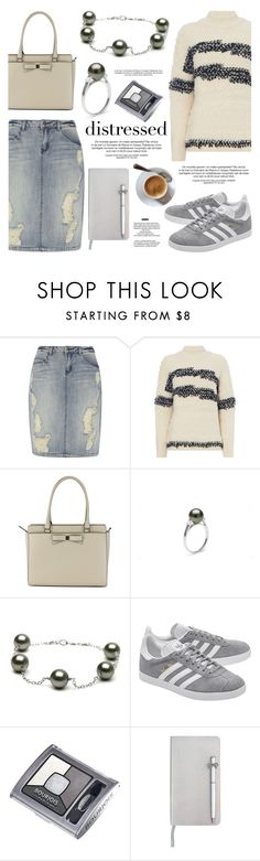 """""""True Blue: Distressed Denim"""" by pearlparadise ❤ liked on Polyvore featuring Dorothy Perkins, Kate Spade, adidas Originals, Bourjois, ICE London, StyleNanda, distresseddenim, contestentry, pearljewelry and pearlparadise"""