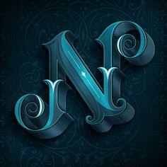 Letter N blue 3d basrelief