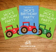 Green or Red Tractor Party Poster  Hang on your front gate or door.