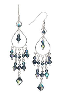 Jewelry Design - Earrings with Crystal Montana AB Swarovski Crystal Beads - Fire Mountain Gems and Beads