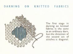 Darning on knitted fabric. Make Do and Mend: Darning Sewing Hacks, Sewing Tutorials, Sewing Projects, Sewing Patterns, Scarf Patterns, Sewing Tips, Knitting Patterns, Make Do And Mend, How To Make