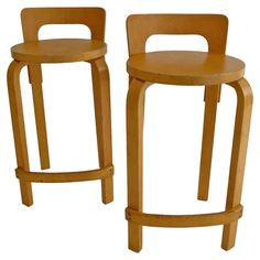 Pair of Alvar Aalto Barstools | From a unique collection of antique and modern stools at http://www.1stdibs.com/furniture/seating/stools/