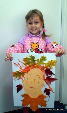 Привет всем! Сегодня мы сделали с девочками портрет осени.         Что нужно:  гуашь,  бумага А3  тонированаая бумага А4  клей  коктейльны...